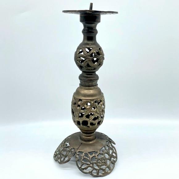 Vintage Regency Brass Candlestick Candle Holder